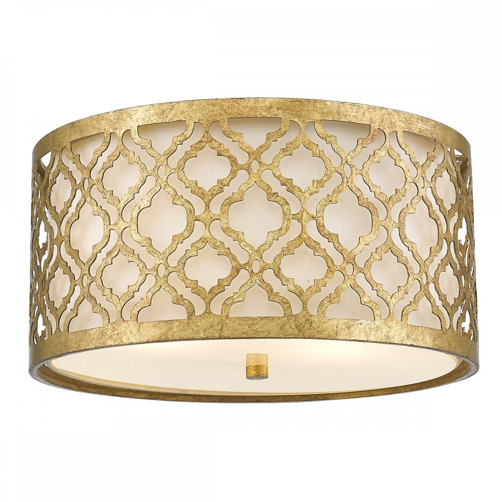 Ceiling Light Shades Arabella Flush Fit Low Ceiling Light In Distressed Gold Filigree With Cream Linen Shade