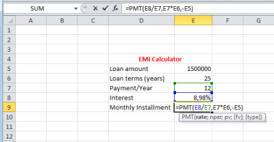 How to calculate EMI? « Excelprovegue