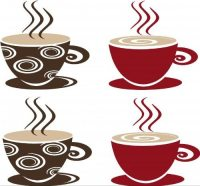Coffee Tea Cups Mugs Vinyl Decal Wall Stickers Kitchen ...