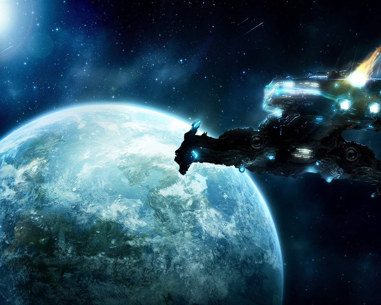 Iphone 5c Wallpaper Hd Wallpaper Spaceship Flying To The Earth 2560x1600 Hd