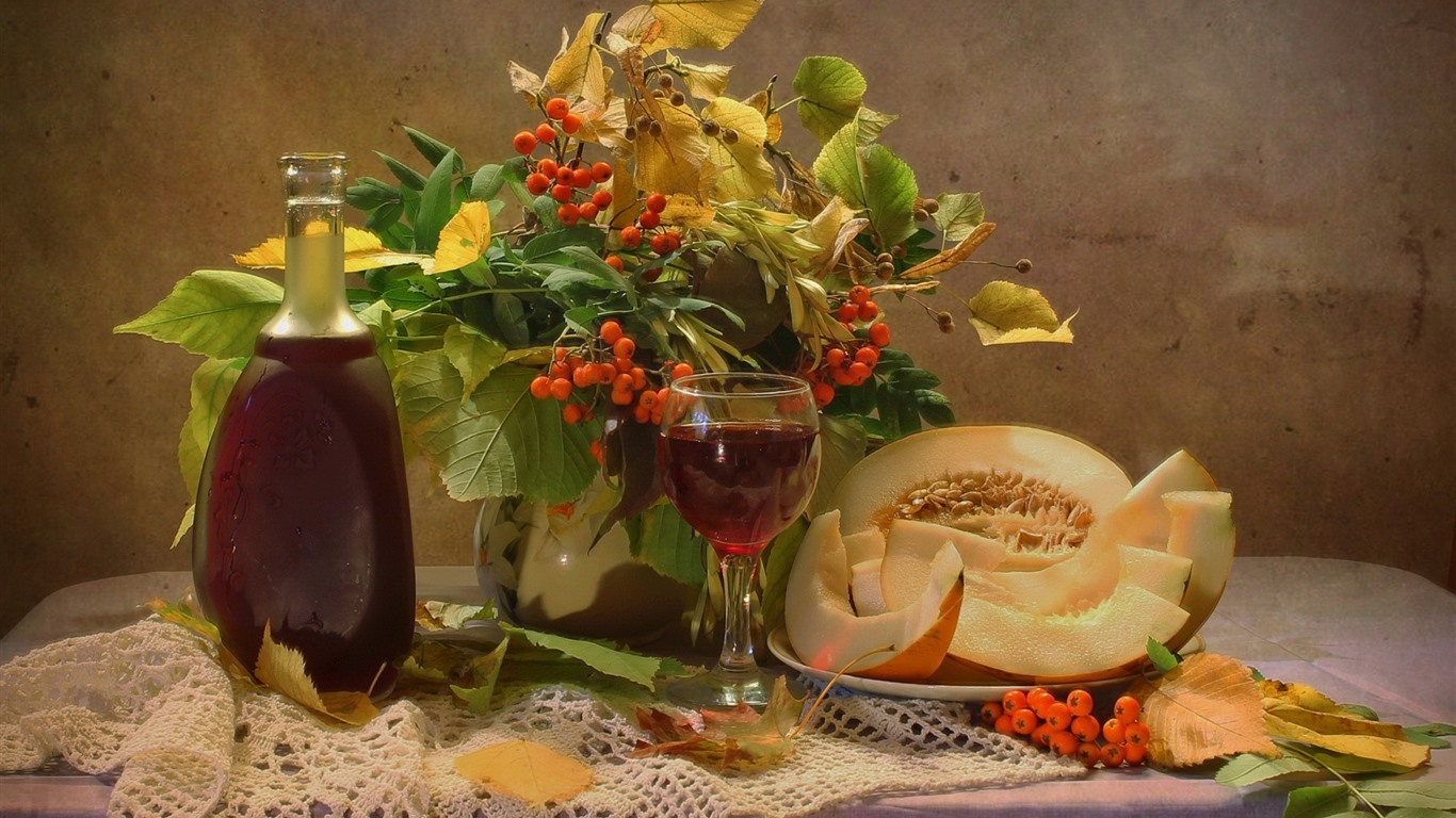 Hd Wallpaper Wallpaper Melon Wine Berries Still Life 1920x1200 Hd