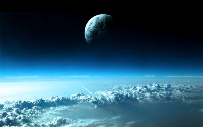 Wallpaper Planet on top of blue clouds 1920x1200 HD Picture, Image