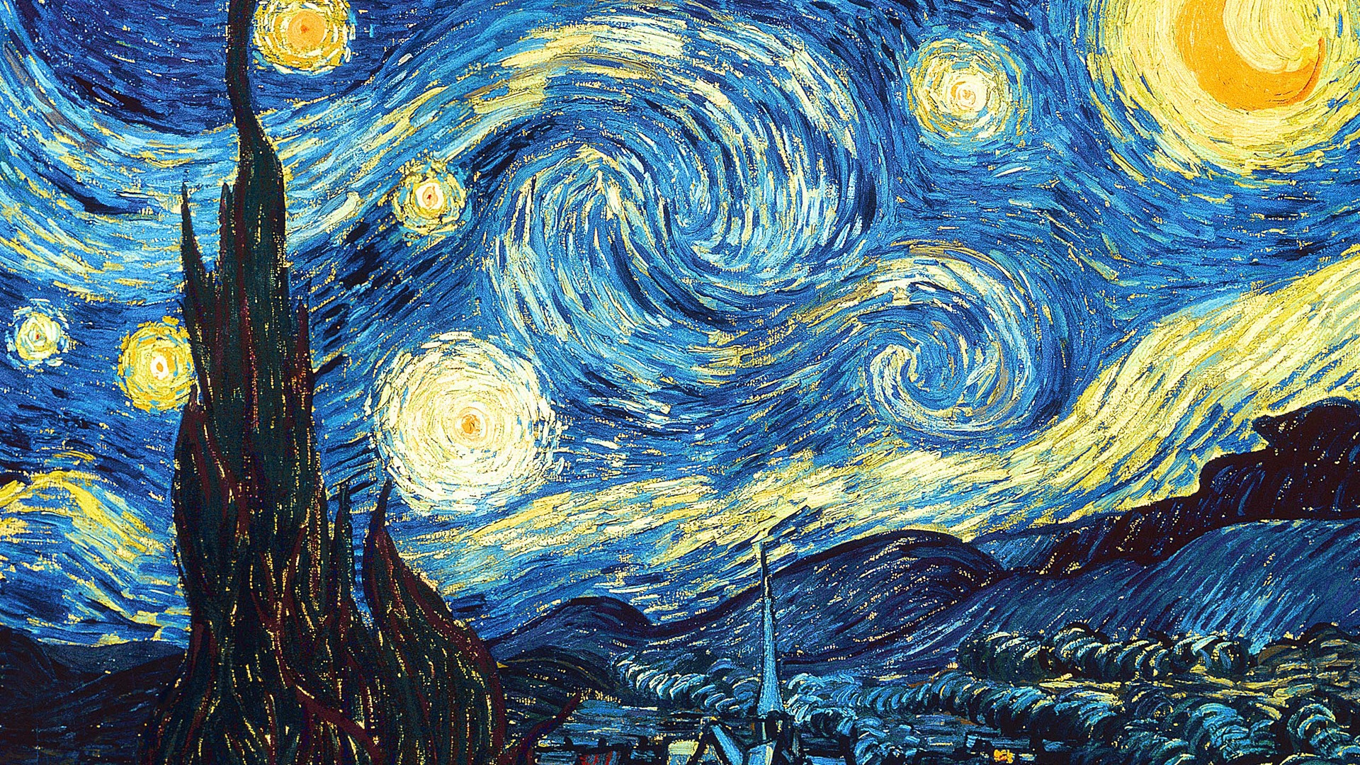 Van Gogh Starry Night Iphone Wallpaper Wallpaper Vincent Van Gogh Starry Night 1920x1200 Hd