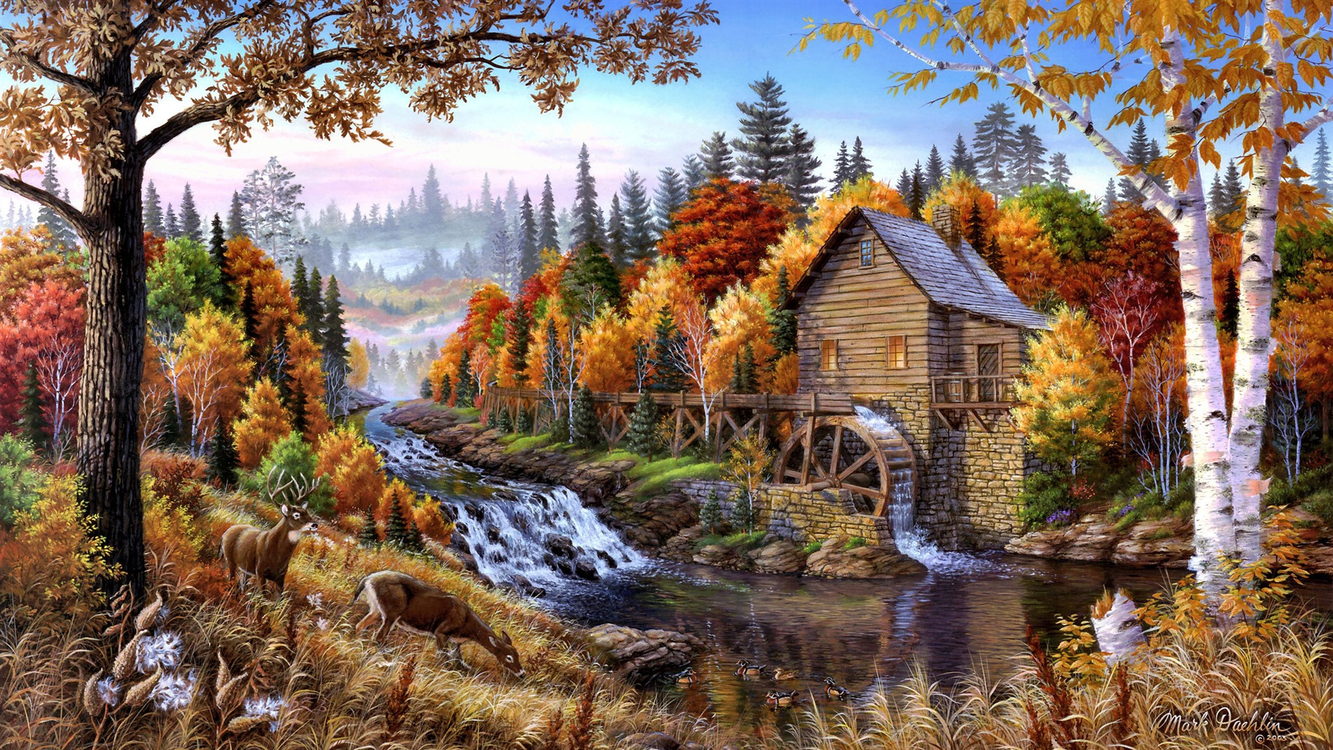 Iphone 4s White Wallpaper Wallpaper Home In The Forest Oil Painting 2560x1440 Qhd