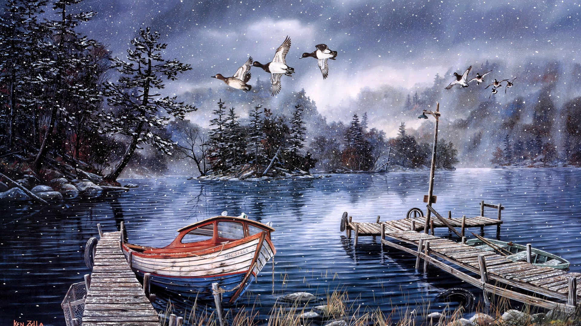 Beautiful Fiction Girl Wallpapers Wallpaper Watercolor Painting Lake And Woods Snow Winter