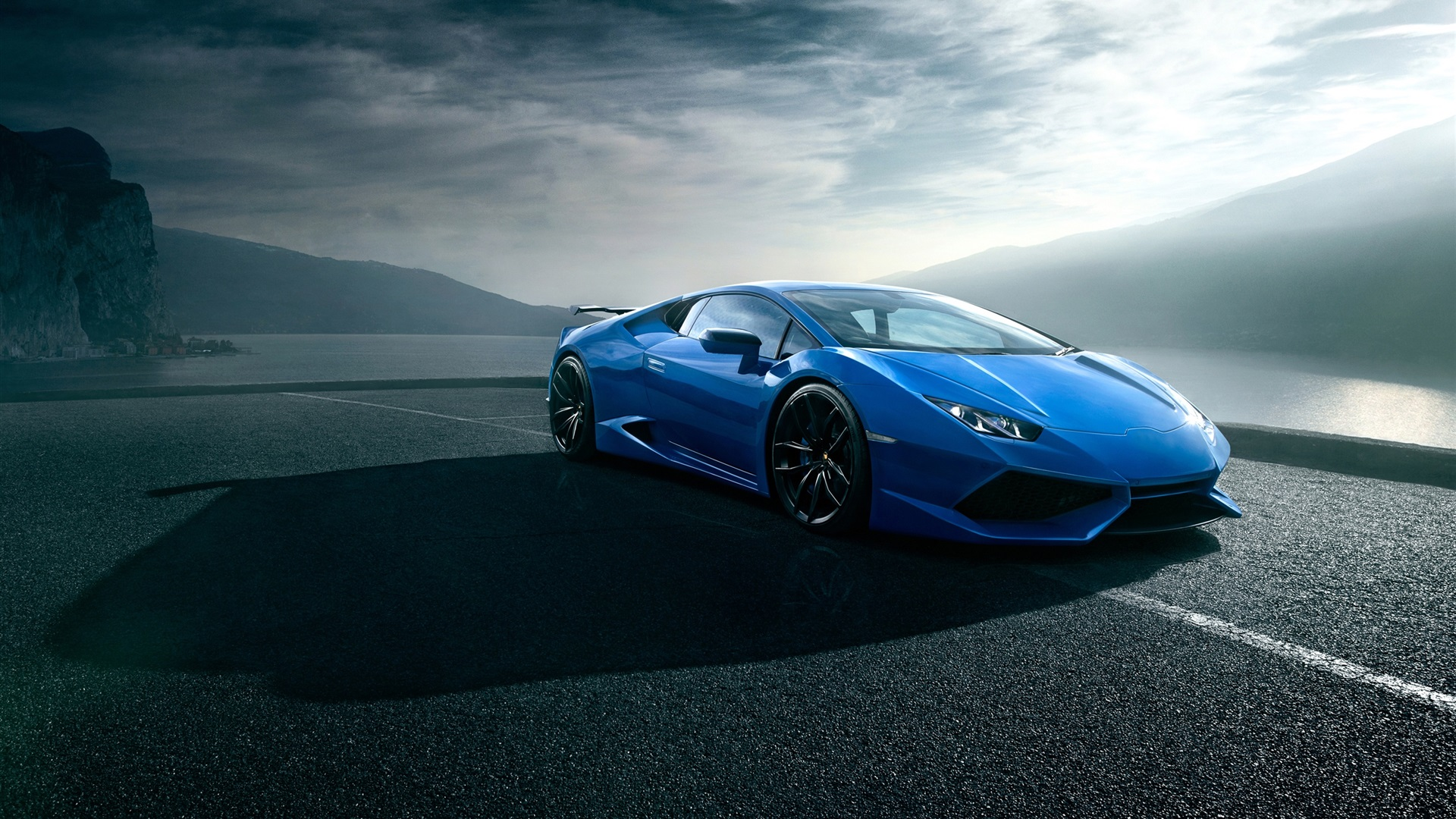 320x480 Car Wallpapers Wallpaper Lamborghini Huracan Blue Luxury Supercar Road