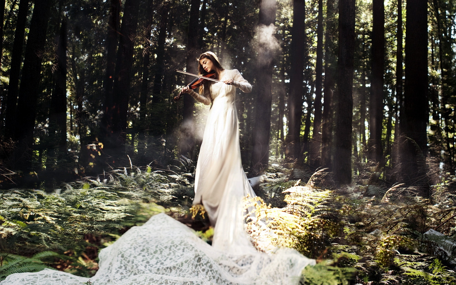 Beautiful Anime Girl Fantasy Forest Wallpaper White Dress Music Girl Play Violin In The Forest