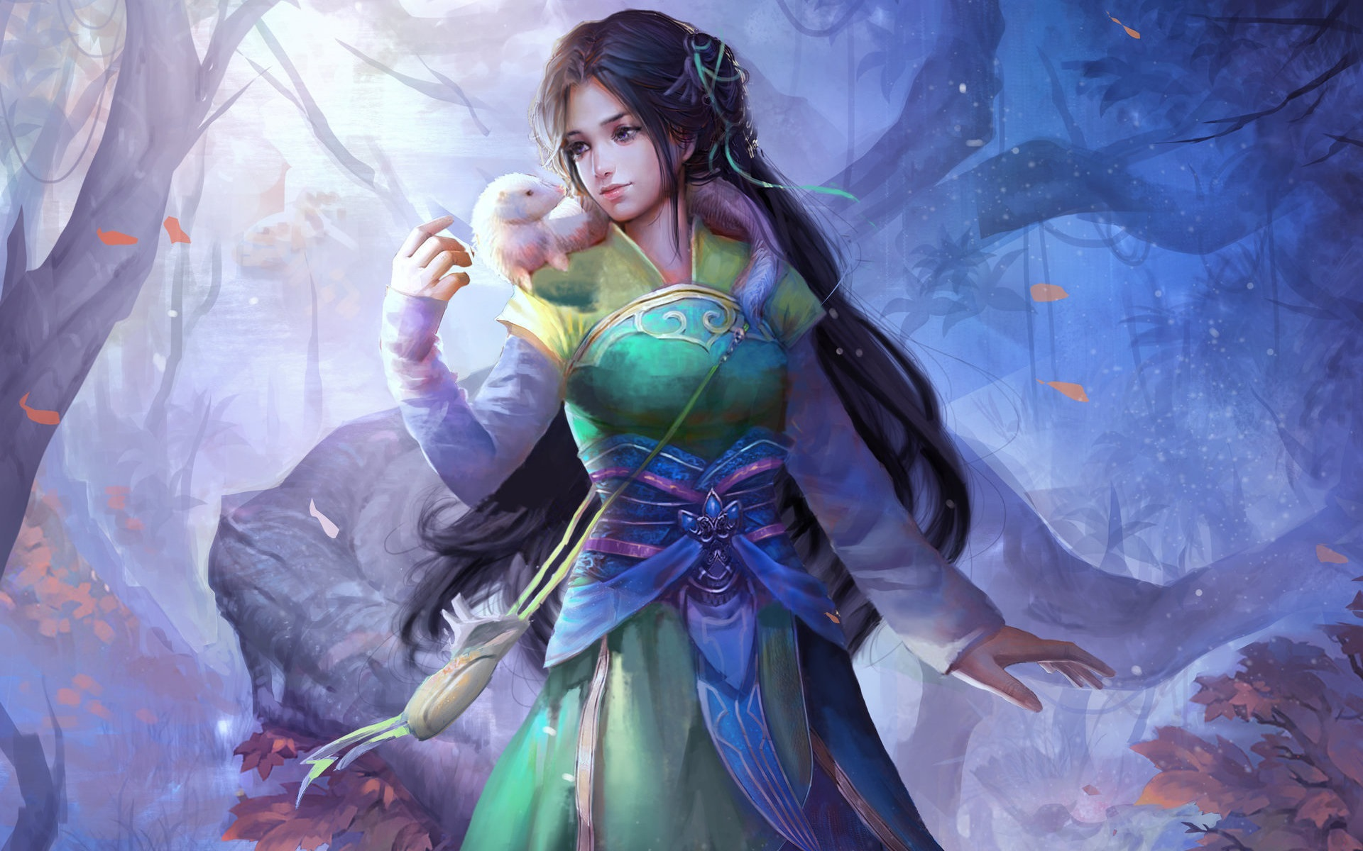 Beautiful Chinese Girl Paintings Widescreen Wallpaper Wallpaper Beautiful Chinese Fantasy Girl Retro Style