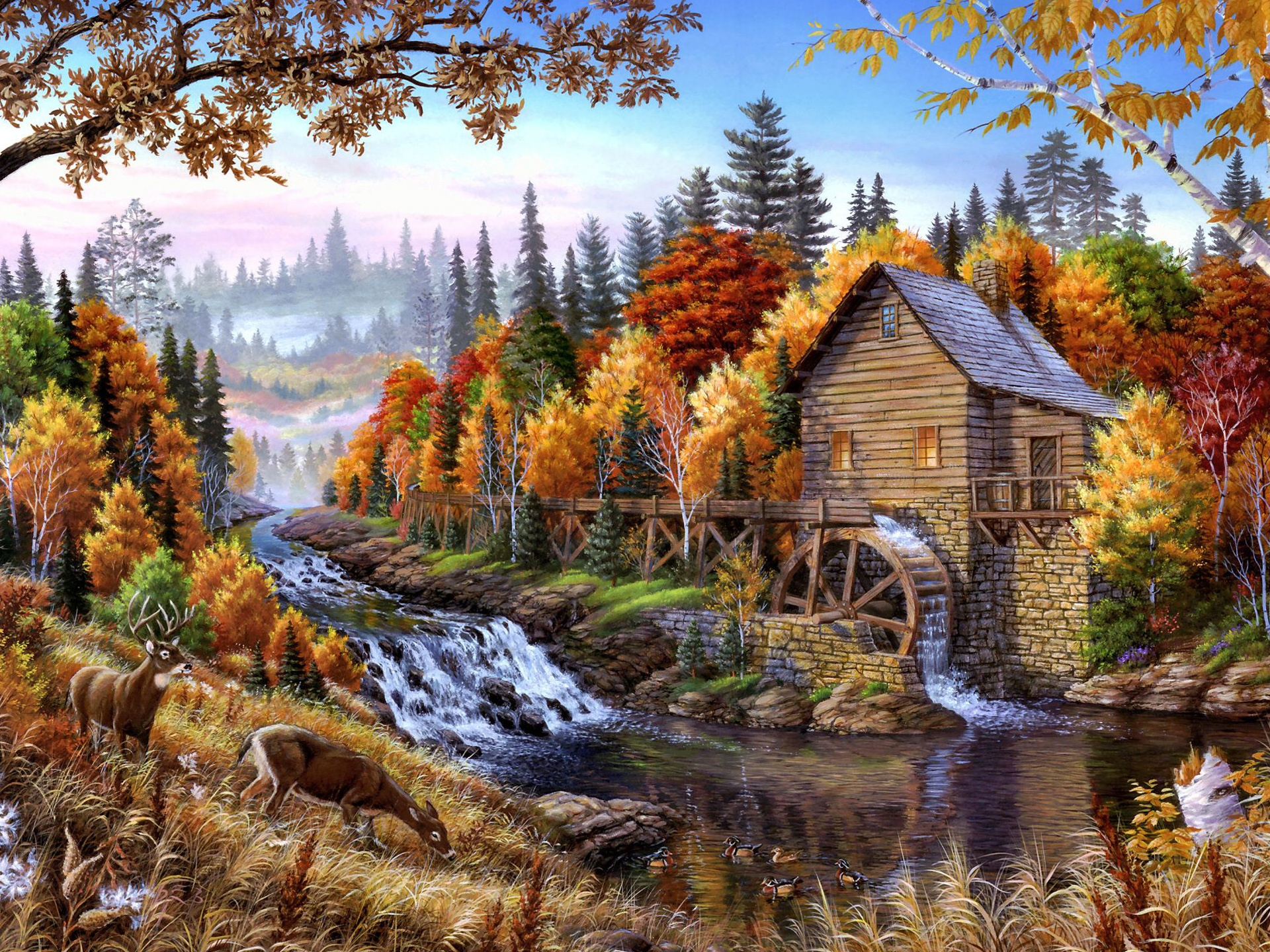 Hd Motorcycle Wallpaper Widescreen Wallpaper Home In The Forest Oil Painting 2560x1440 Qhd