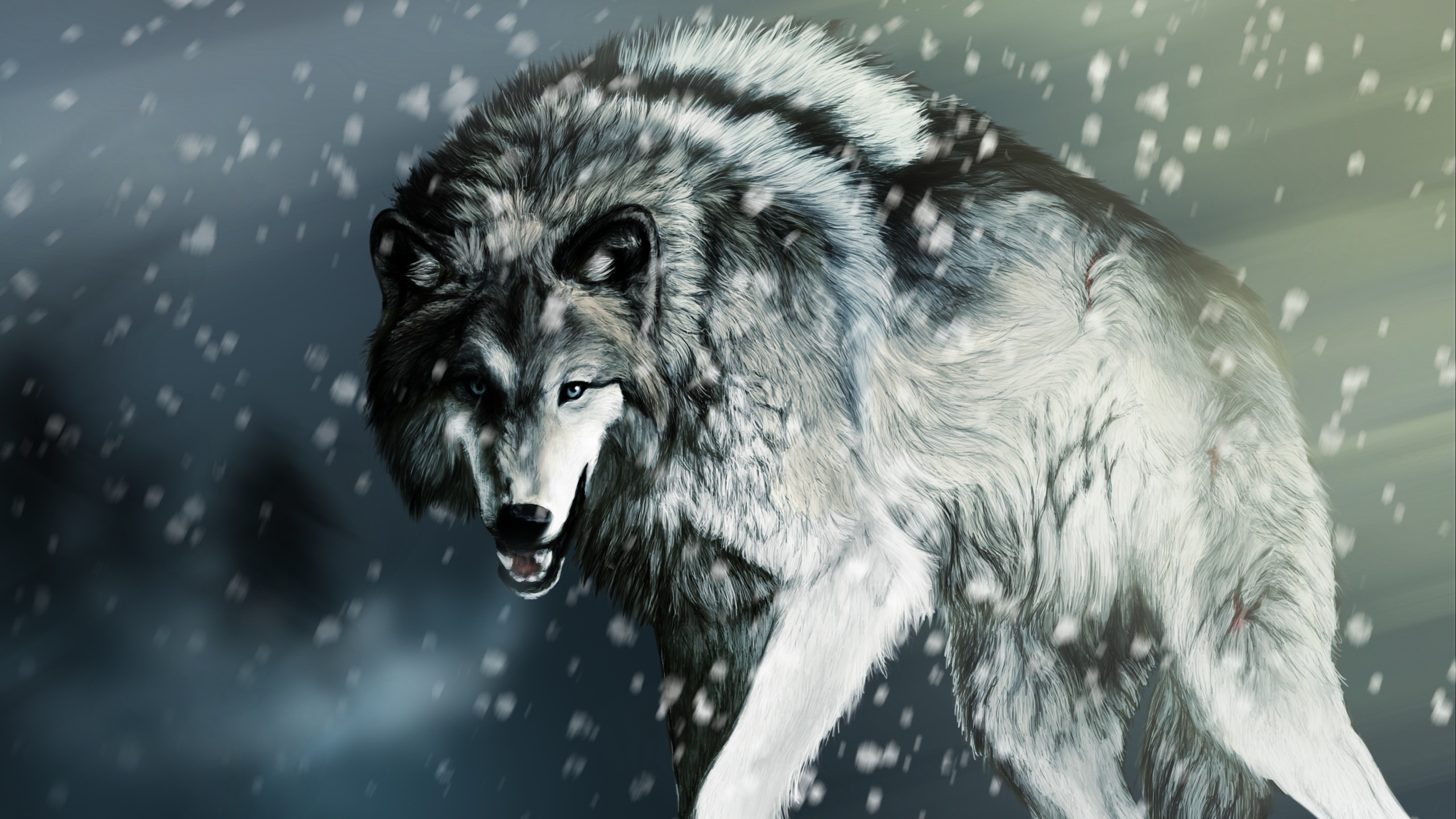 Falling Snow Wallpaper Iphone Wallpaper Wounded Wolf In The Winter 2560x1600 Hd Picture
