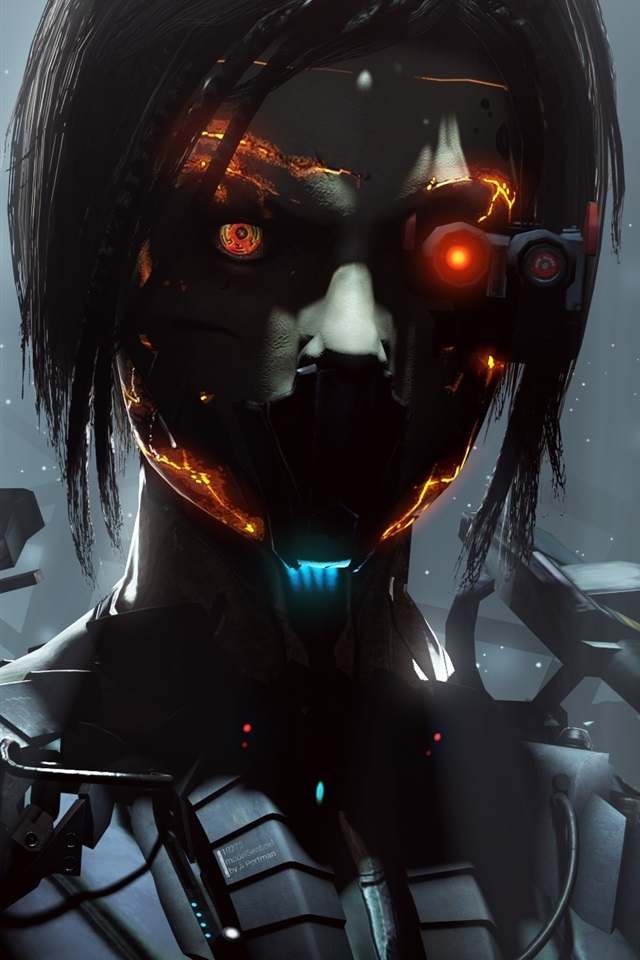 Colorful Skull Iphone Wallpaper Wallpaper Cyborg Robot Girl Fantasy Creative Pictures