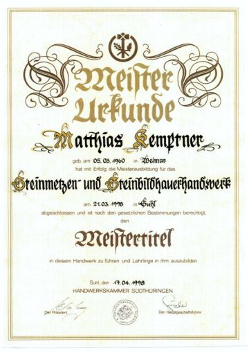 Meister-Urkunde Kemptner