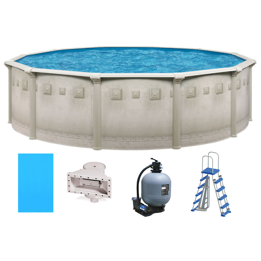 Jacuzzi Pool Deluxe Ocean Mist Deluxe 24 Round Above Ground Pool Package