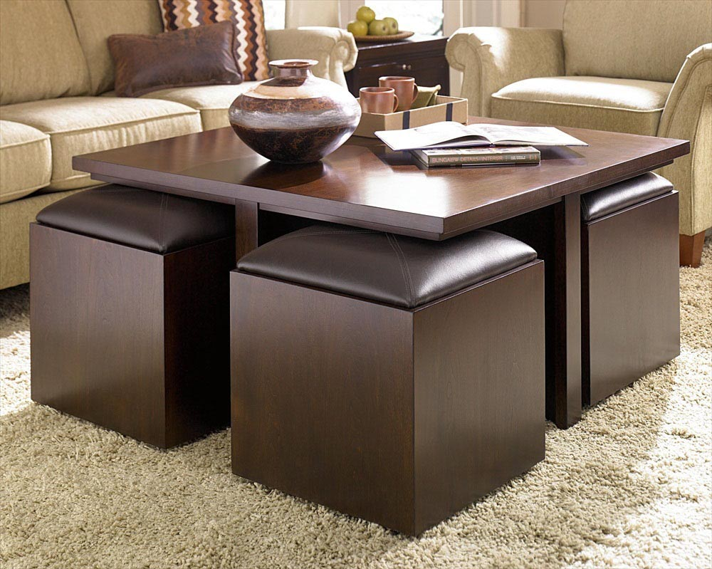 Coffee Table With Storage Stools Coffee Table Design Ideas