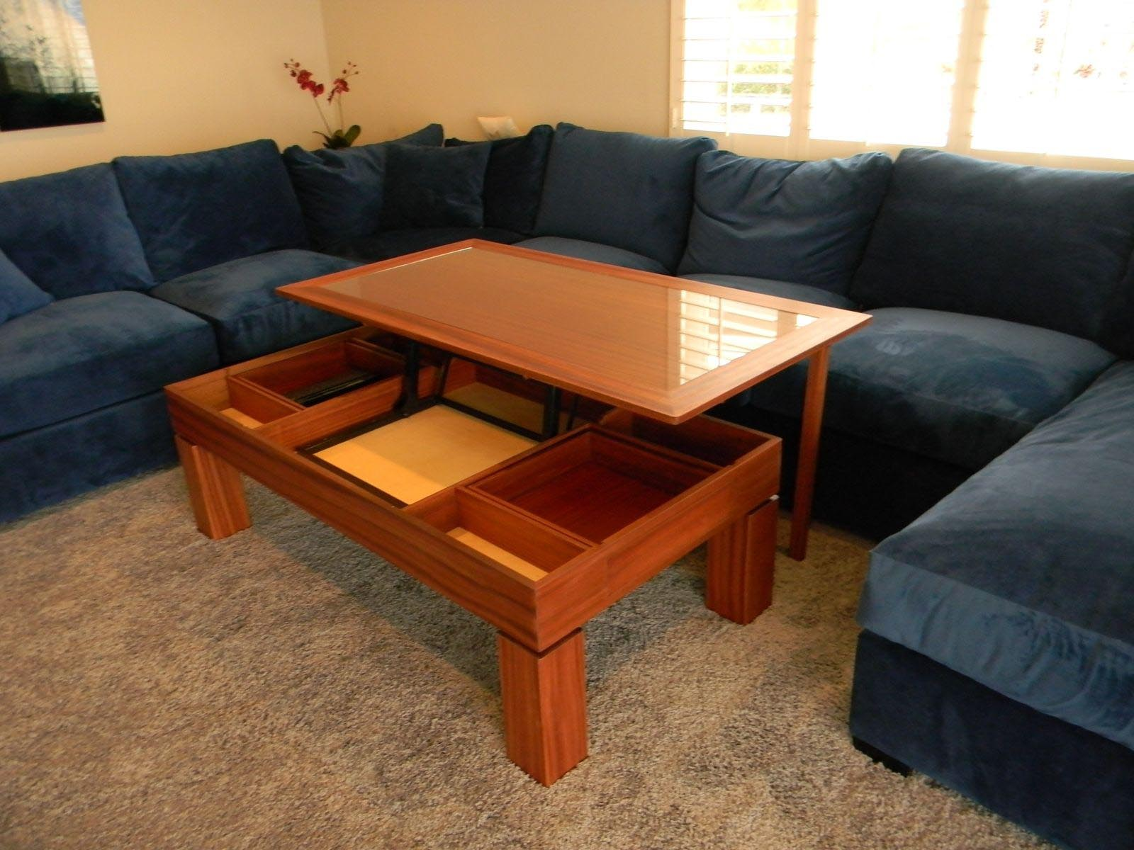 Mission Style Coffee Table Glass Top
