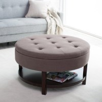 Round Upholstered Ottoman Coffee Table | Coffee Table ...