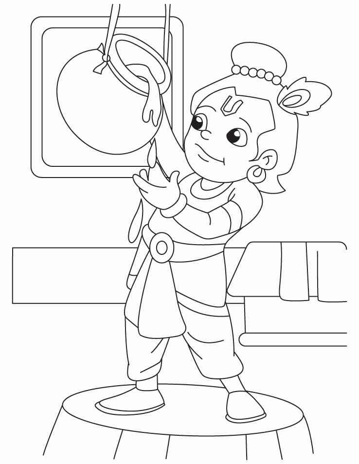 Krishna the innocent butter thief coloring pages