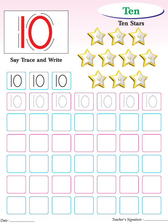 Numbers writing practice worksheet-10 Download Free Numbers