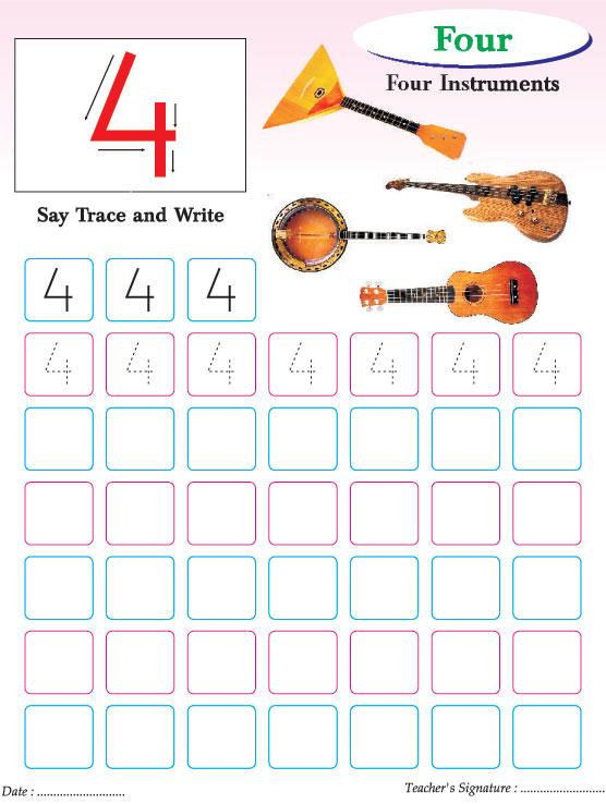 Numbers writing practice worksheet-4 Download Free Numbers writing