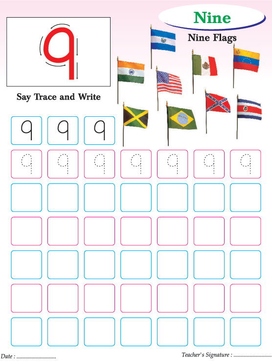 Numbers writing practice worksheet-9 Download Free Numbers writing