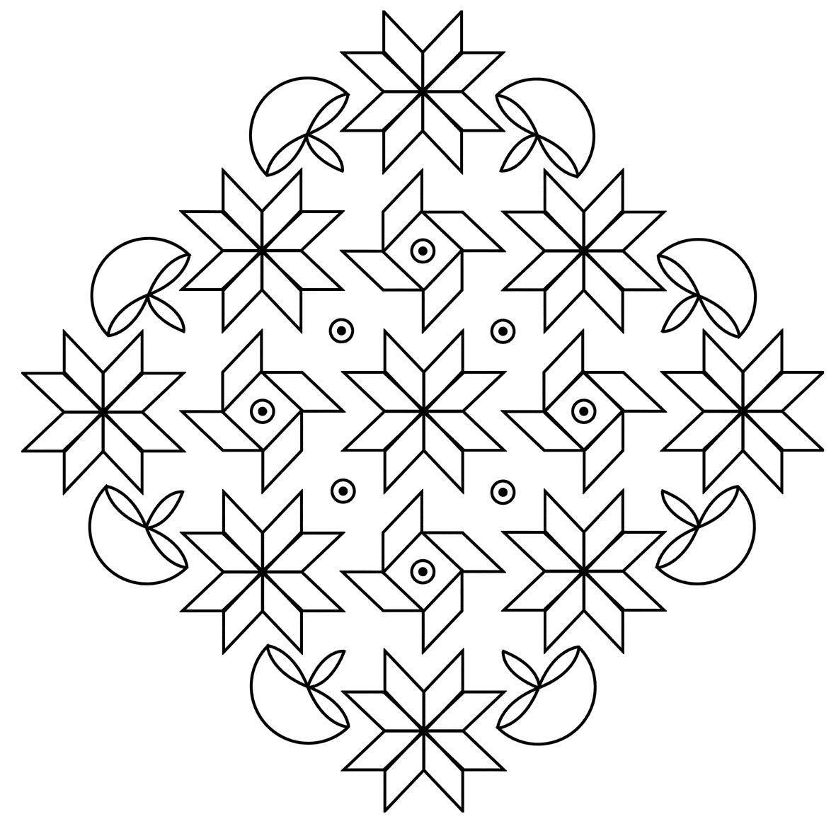 Diwali Black And White Pictures Free Printable Rangoli Coloring Pages For Kids