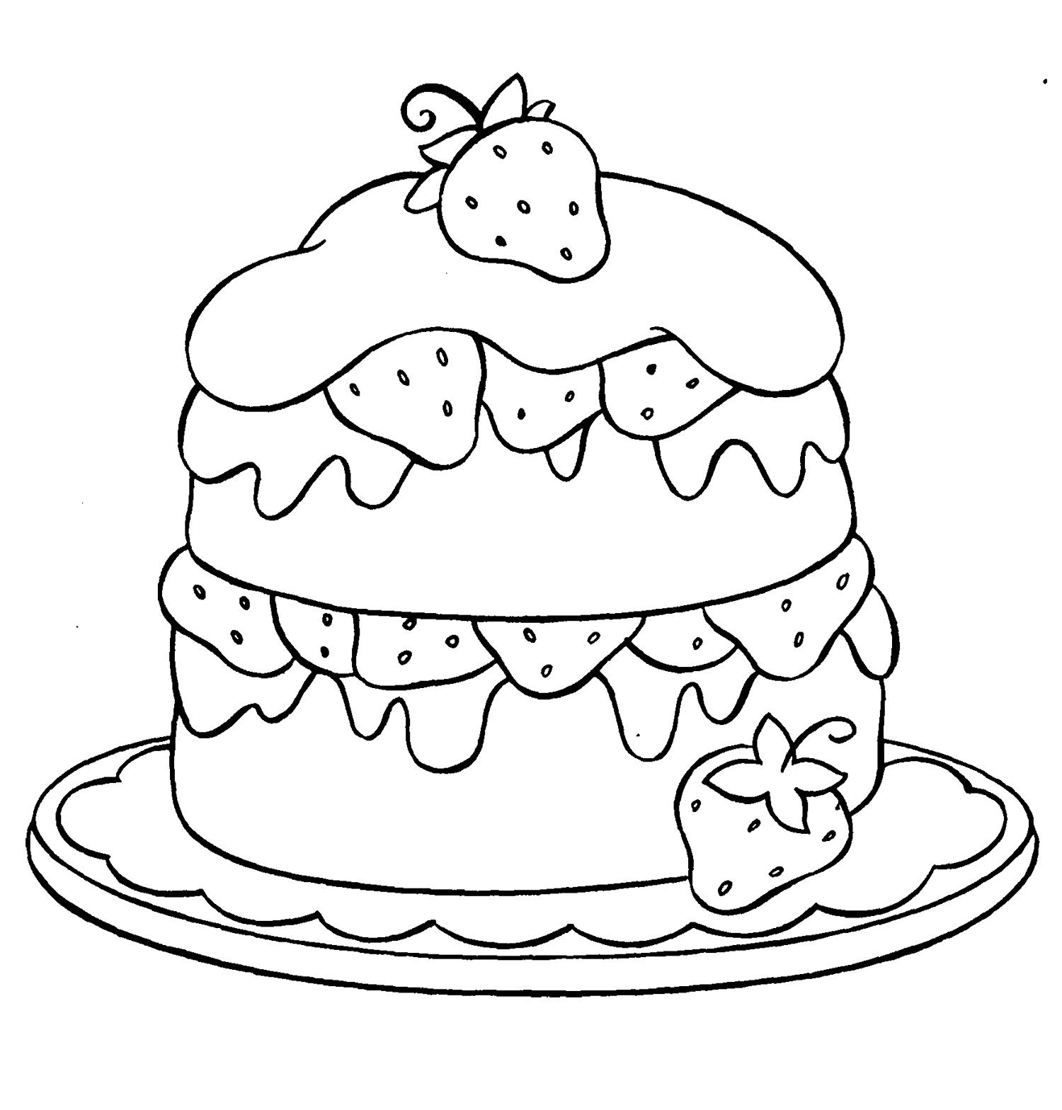 Drawing Cake Colour Strawberry Coloring Pages Best Coloring Pages For Kids