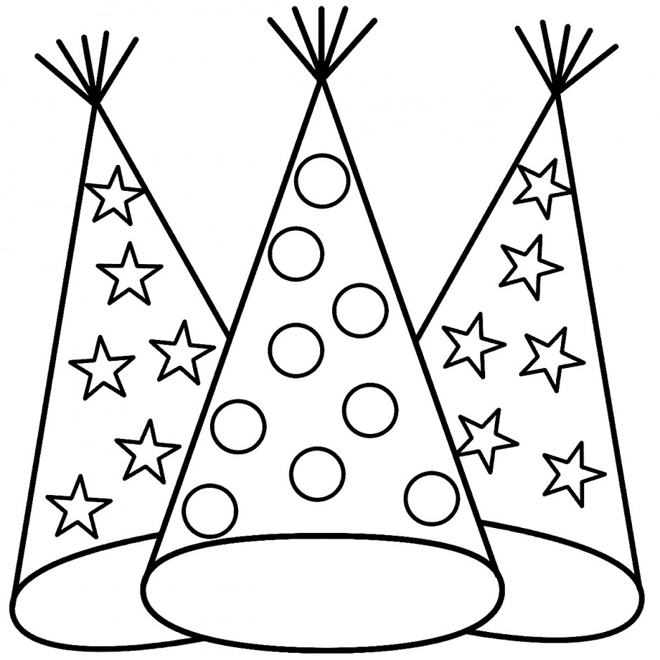 Party Hat Clipart Black And White Hat Coloring Pages Best Coloring Pages For Kids
