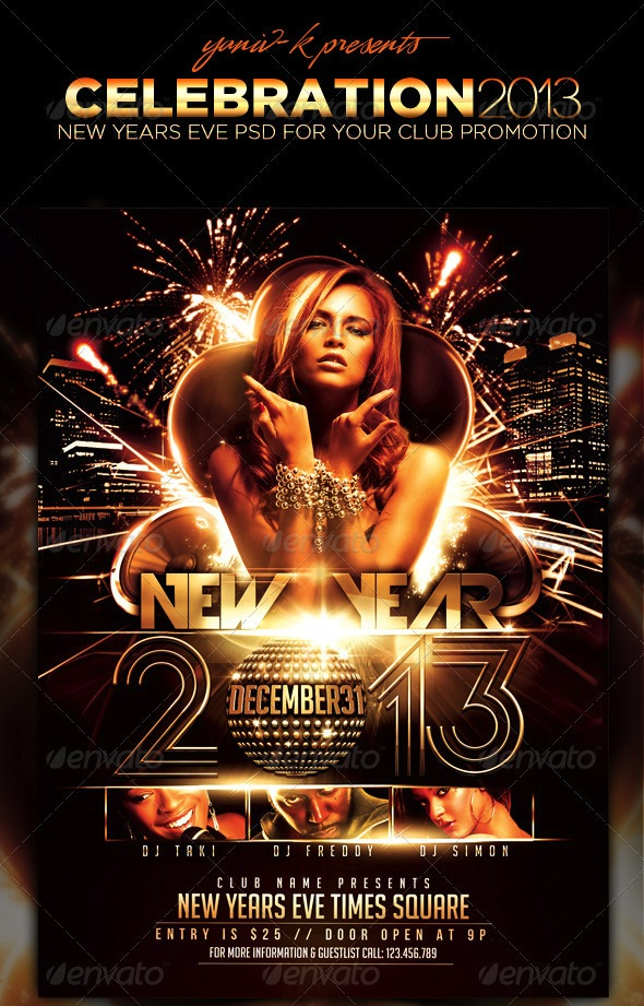 23 Festive Christmas and New Years Eve Holiday Flyers - Best Designers - free new years eve flyer template