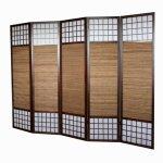 Raumtrenner Homestyle4u 5 fach Paravent Raumteiler - Holz Trennwand Shoji mit Bambus in braun Reispapier