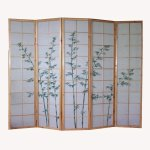 Raumtrenner Homestyle4u 5 fach Paravent Raumteiler - Holz Trennwand Shoji in natur mit Bambus - Muster