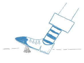 Illustration Schuh tritt in Kaugummi