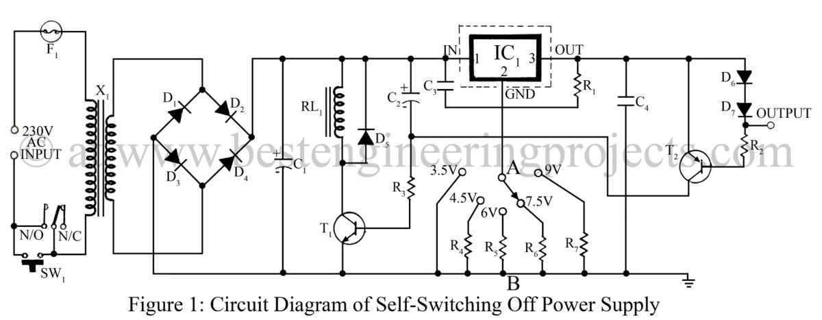 power supply circuit   electronics projects   best engineering        circuit diagram of self switching off power supply