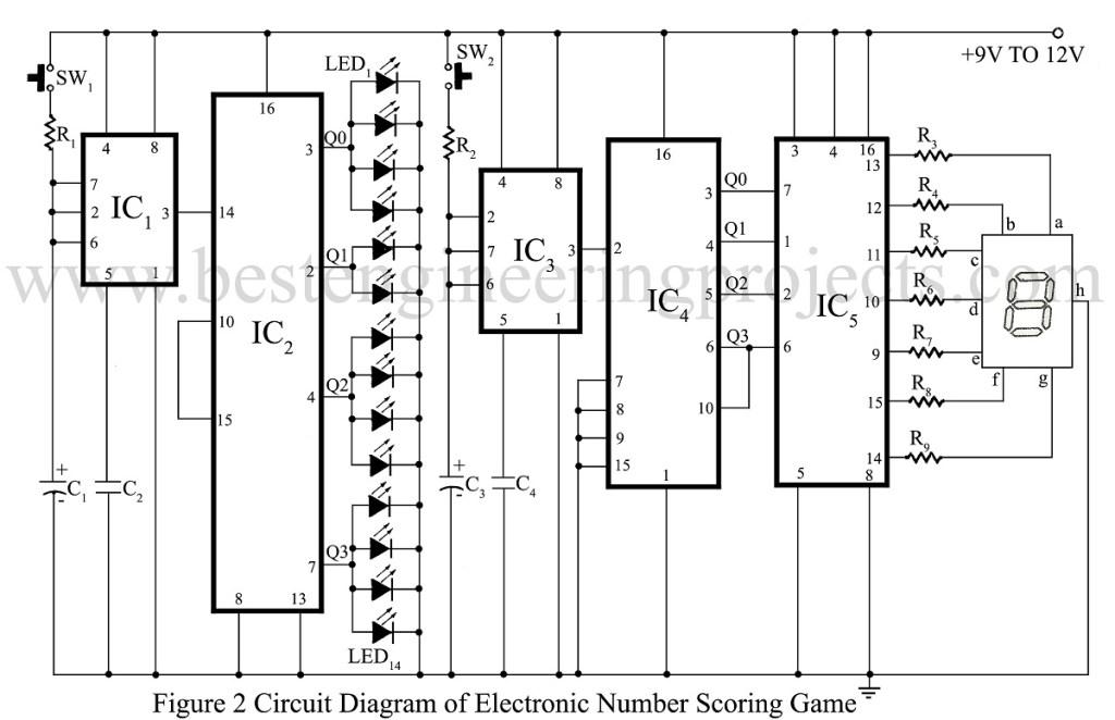 circuit diagram of number scoring game