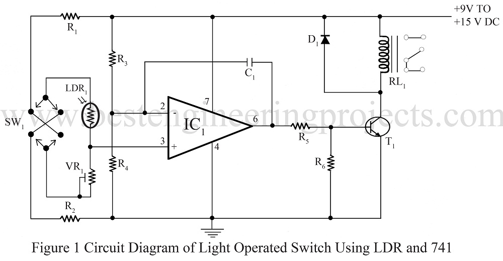 Automatic Light Operated Switch using LDR and IC741 - Engineering