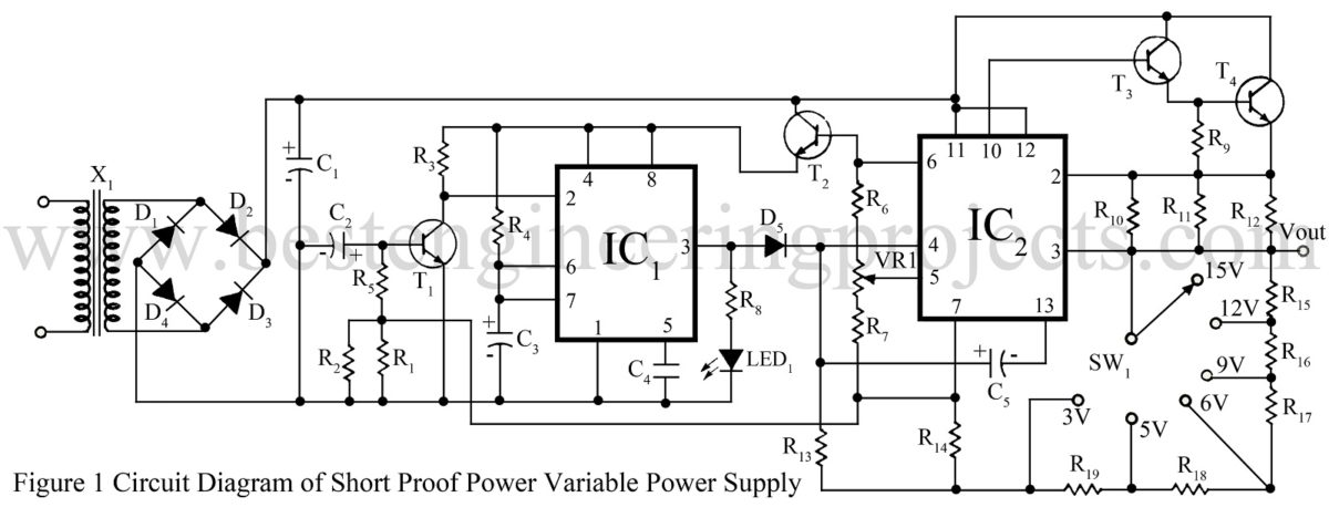 Short Proof Variable Power Supply Circuit - Engineering Projects