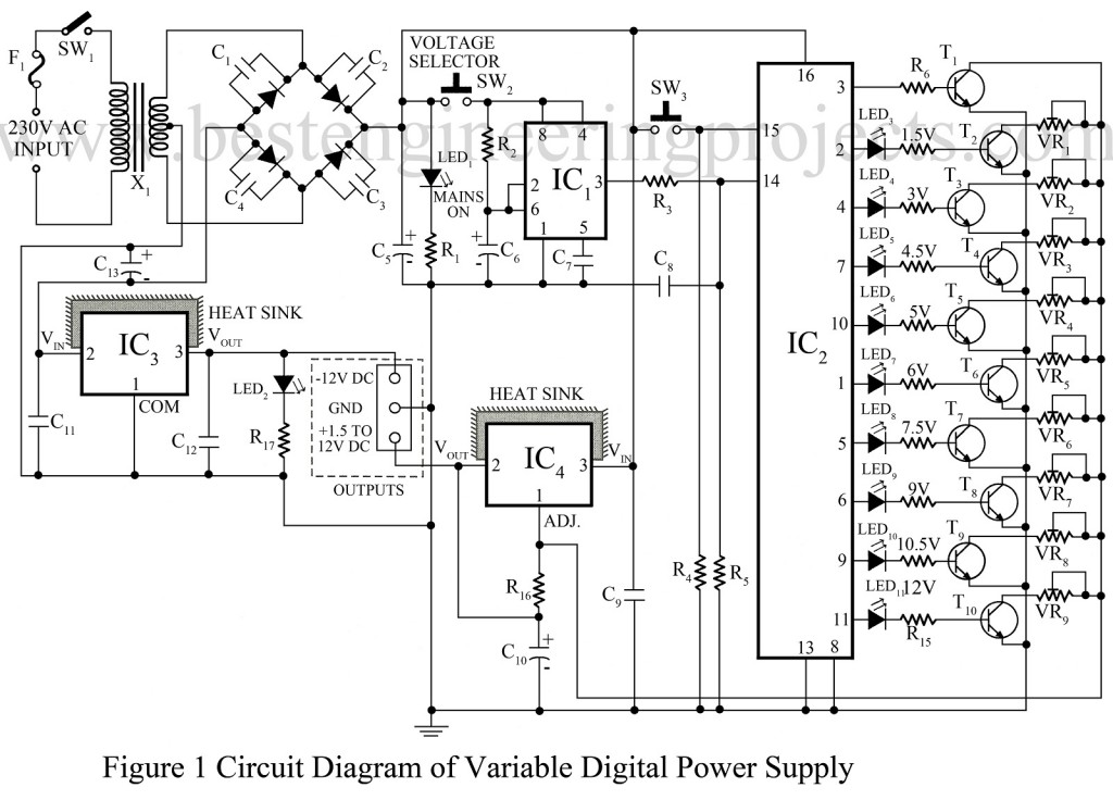 6 12v variable regulated power supply circuit diagram