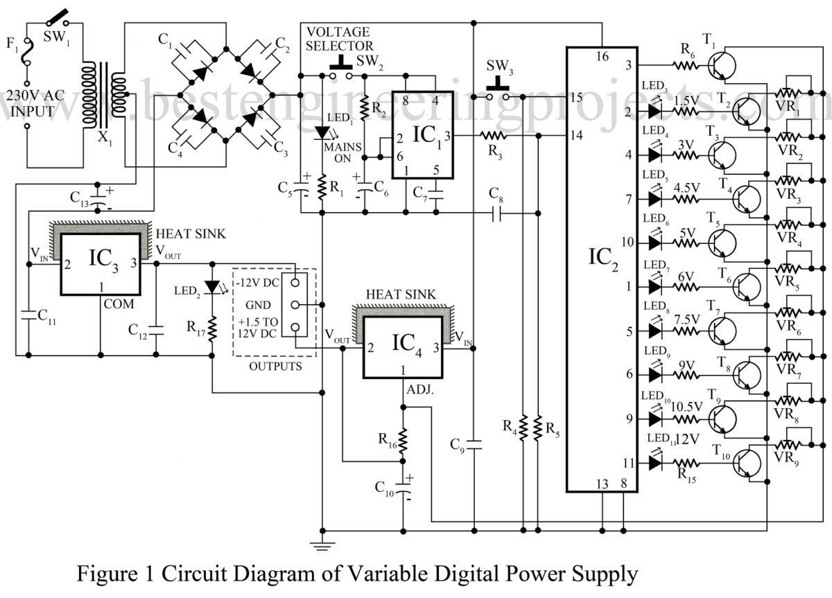 Power Supply Based Projects on variable voltage regulator circuit diagram