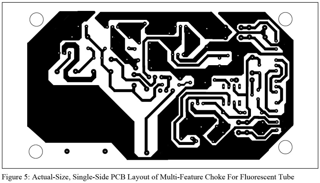 actual size single side pcb layout for multi feature choke for fluorescent tube