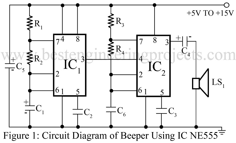Beeper Circuit using Timer IC 555 - Engineering Projects