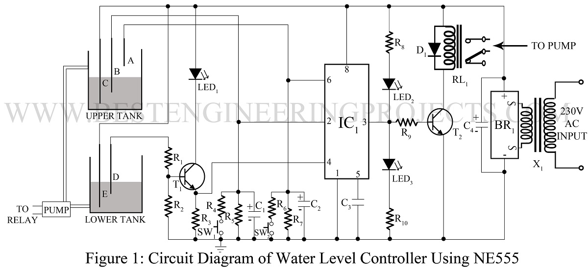 Water Level Controller Circuit Using Transistors And Ne555 Oukasfo