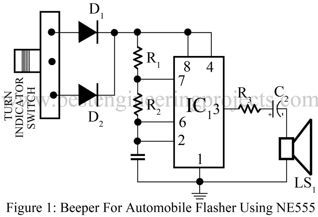 beeper for automobile flasher using 555