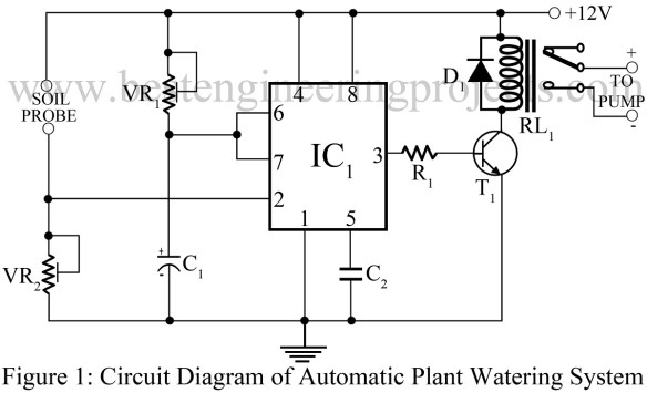 circuit diagram of automatic plant watering system using 555