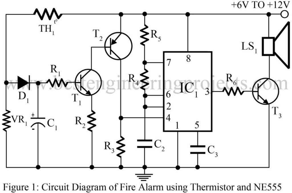 circuit diagram of fire alarm using thermistor and ne555