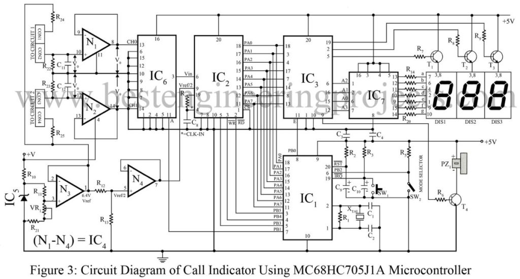circuit Diagram of Call Indicator Using MC68HC705J1A Microcontroller