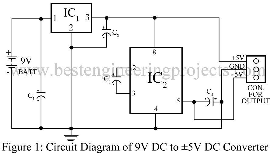9v dc to plus  minus 5v dc converter