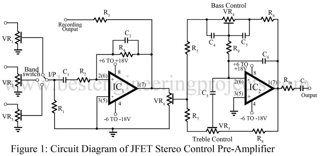 jfet op amp based stereo control preamp best engineering circuit diagram of jfet circuit diagram of p channel jfet