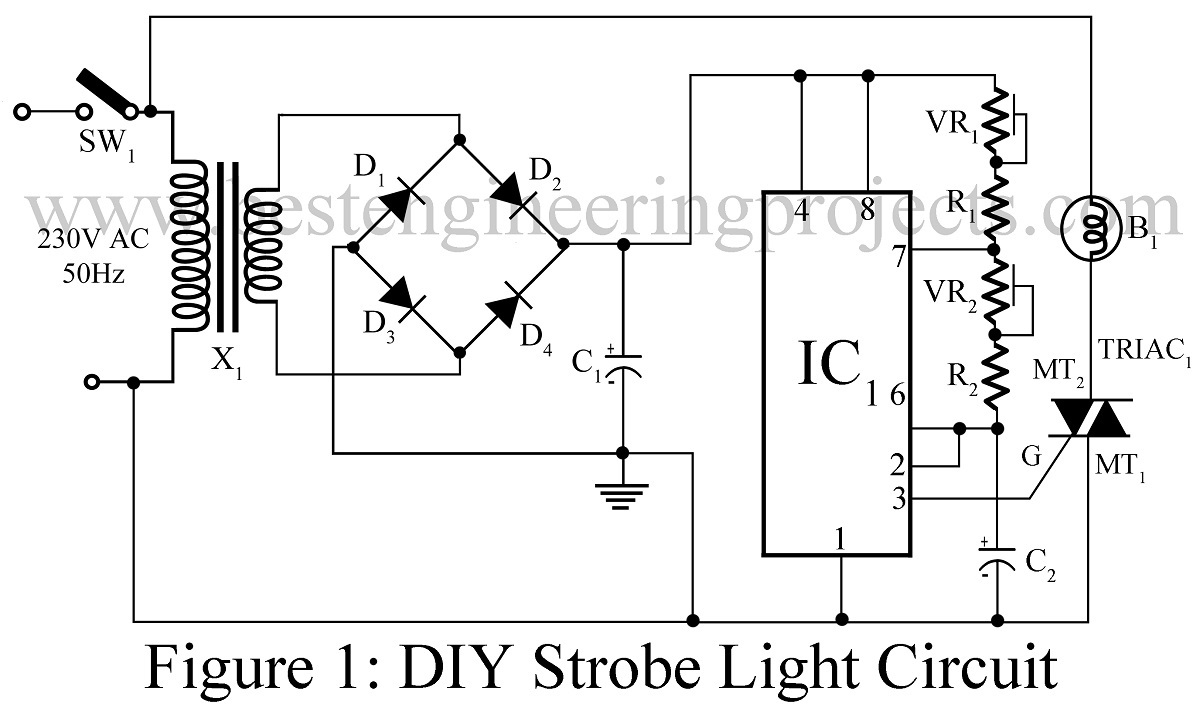 led strobe light circuit using transistors