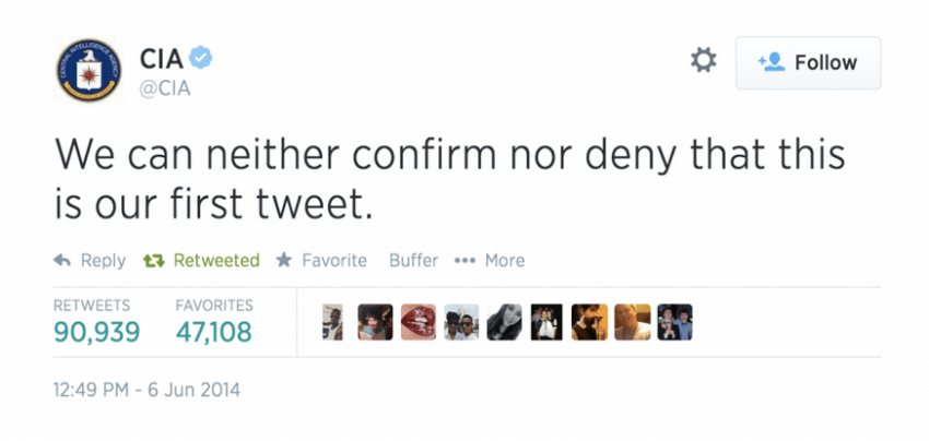CIA's first tweet