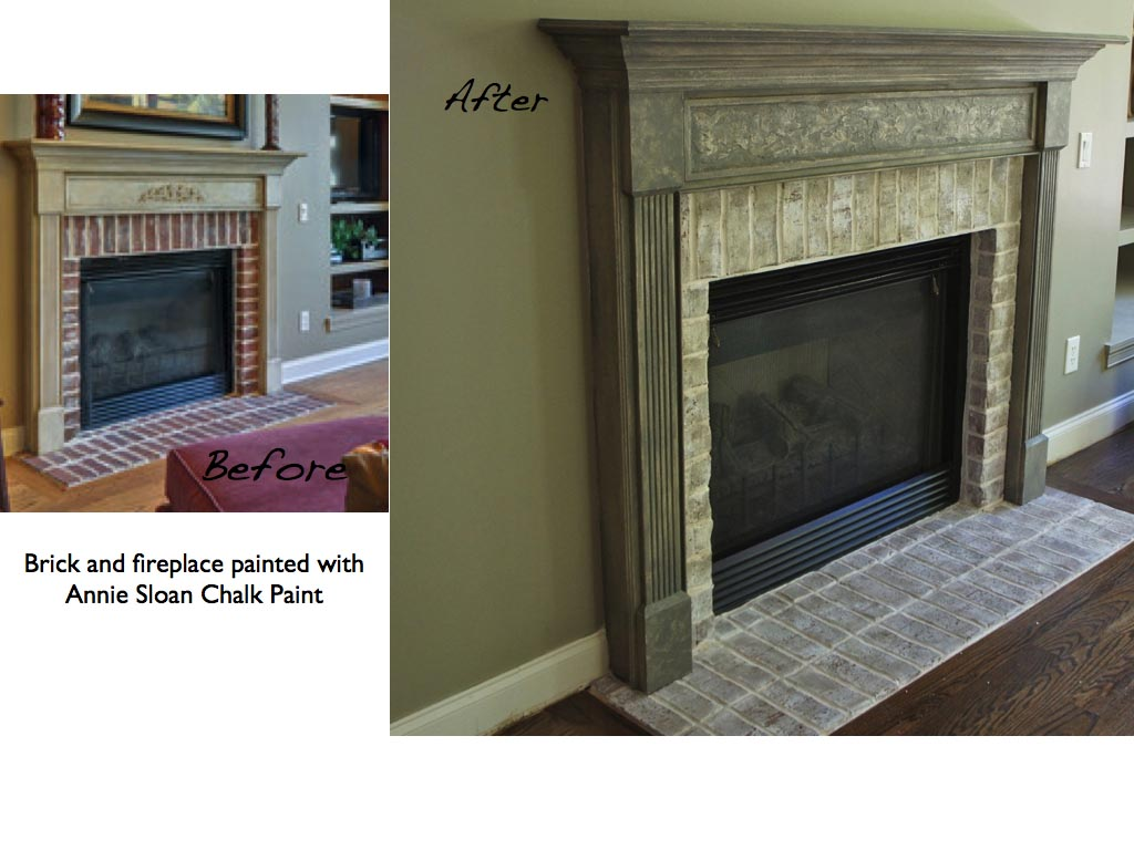Painted Brick Fireplace Before And After Fireplace Designs