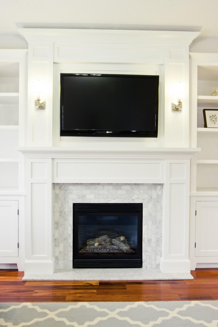 White Tile Fireplace Surround